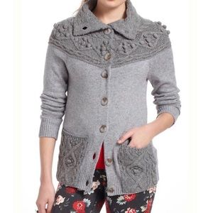 NWT Anthropologie Gray Cablepom Cardigan